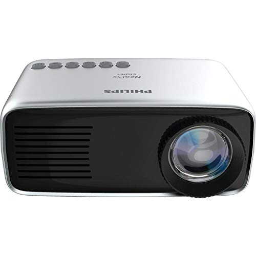 Philips NeoPix Start+ (NPX245) Mini and Transportable Projector, 1080p, 650 Led Lumens, 60 Inch Display, Built-in Battery, Built-in Media Player, HDMI, USB, microSD, 3.5mm Audio Out Headphone Jack