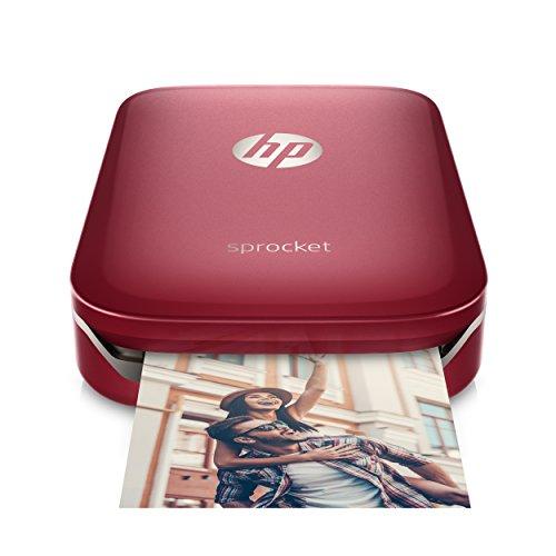HP Sprocket Portable Photo Printer, Print Social Media Photos on 2x3 Sticky-Backed Paper - Red (Z3Z93A)