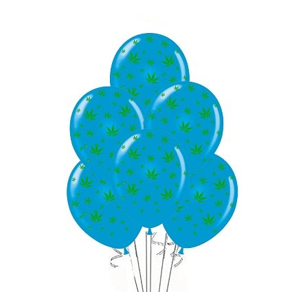 Marijuana Balloons 11 Inch Black With Green Leaves Party Decoration Pkg/12