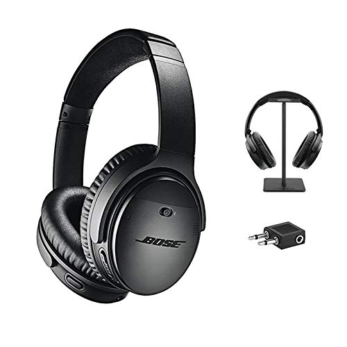 Bose QuietComfort 35 Series II Wireless Headphones, Black, Noise Cancelling with Budrug LLC Airplane Flight Adapter - Worldwide Version Bundle
