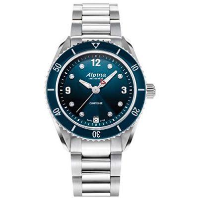 Alpina Women's Swiss Quartz Sport Watch with Stainless Steel Strap, Silver, 18 (Model: AL-240ND3C6B)