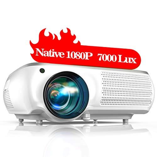 TOPTRO Proiettore,7000 Lumens Aggiornato Videoproiettore Full HD 1920x1080P Nativa,Supporta Video 4K,Schermo da 300 'con...