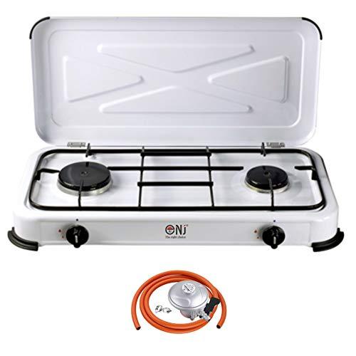 NJ-02 Portable Double Gas Stove 2 Burner Camping White Enamel Lid Outdoor LPG + Propane/Butane Regulator Set (Propane 37mbar Screw-on)