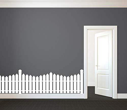CLIFFBENNETT White Picket Fence - Wall Decal Custom Vinyl Art Stickers for Nurseries, Kids Rooms, Classrooms, Hallway Decor