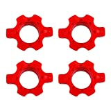VOSAREA 4 Pcs Barbell Screw Clamps 1inch Barbell Spin-Lock Collars Screw Fixing Nuts for Workout Weightlifting Fitness Training Red