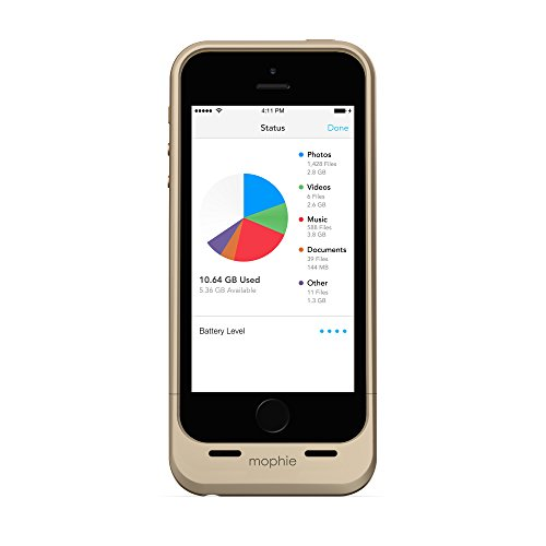 mophie spacepack with 16GB Built-in Storage for iPhone 5/5S (1700mAh) - Gold