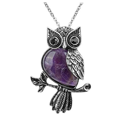 Top Plaza Owl Necklace Amethyst Healing Crystal Stone...