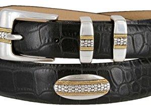 St. Andrews Gold – Genuine Italian Calfskin Leather Golf Dress Belt with Conchos