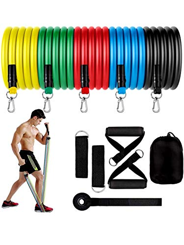 Resistance Band Set(11pc) for Men & Women , Unbreakable Toning Tube Kit with Door Anchor,Foam Handles, Waterproof Bag and Ankle Straps for Resistance Training, Stretching, Home Workouts and Muscle Building.