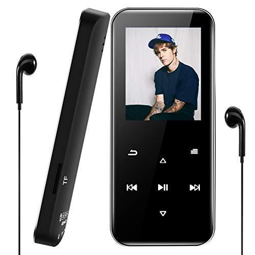 Aigital Lecteur MP3 Bluetooth 4.2, MP3 Player Sport 16Go, Boutons tactiles, Lecteur Audio numérique Portable sans Perte avec Orateur, FM Radio, Podomètre, Enregistrement, Prise en Charge jusqu'à 128