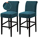 Turquoize Bar Stool Cover Counter Stool Pub Chair Slipcover for Dining Room Velvet Barstool Protector Covers Slipcover Parson Chair Covers Set of 2, Thick Soft Modern Style, Deep Teal, 2