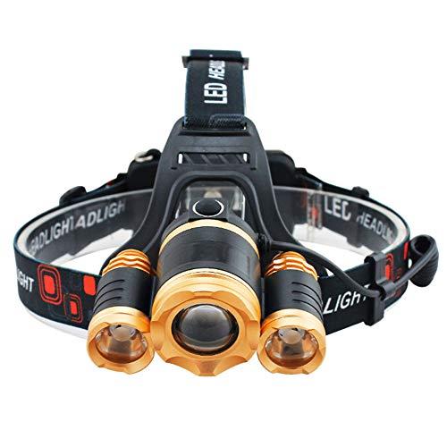 Fari a LED, 15000lumen super luminoso LED sensore faro torcia ricaricabile impermeabile torcia Zoomable testa luce per ciclismo, trekking, campeggio, escursionismo, pesca, lettura notturna Gold