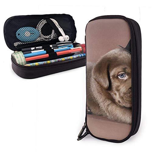 Simpatico astuccio in pelle per cani Labrador color cioccolato, durevoli cancelleria per studenti...