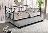 Daybed with A Trundle Twin Size ,Daybed Metal Frame with Pullout Trundle for Kids Teens and Adults, No Box Spring Needed (Black)