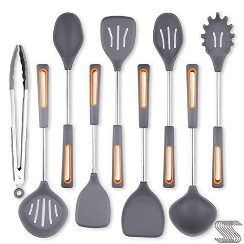 Utensili da Cucina in Silicone da 17Pezzi Professionali Cottura Kit Cooking Tool Kit Antiaderente In Silicone Resistente Al Calore Utensili Da Cucina Con Spatola,Pinze Ecc. Con Ganci da 8 S-Nero