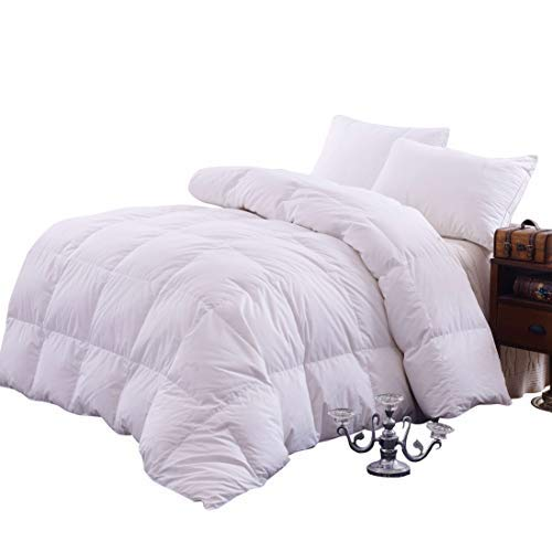 Topsleepy Luxurious Bedding Goose Down Filling Comforter, White (King Size)