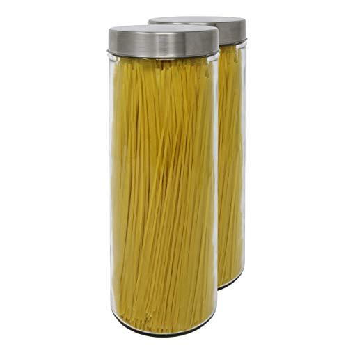 Luxury & Grace Set 2 Vorratsdosen aus Glas, 1,75 L (31x10 cm), Behälter mit Schraubverschluss.