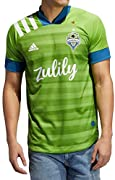 Regular fit 50% polyester, 50% recycled polyester mock eyelet Mesh inserts at shoulders Moisture-absorbing AEROREADY Seattle Sounders heat transfer crest