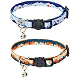 SCENEREAL Natural Scenery Series Breakaway Cat Collar with Bells, 2 Pack Soft Adjustable Kitten Collars for Cats Puppies Daily Wearing (Forest & Mountain)