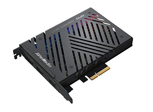 AVerMedia Live-Gamer Duo, 4Kp60 HDR-Passthrough, PCI-E, extrem niedrige Latenzzeit, ideal für Xbox, Playstation und PC (GC570D)