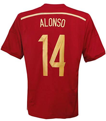 (アディダス) adidas 14 15スペイン代表 ホーム 半袖 シャビ・アロンソ ワールドカップバッジ付 フルマーキング仕様 AD712-G85279 XO