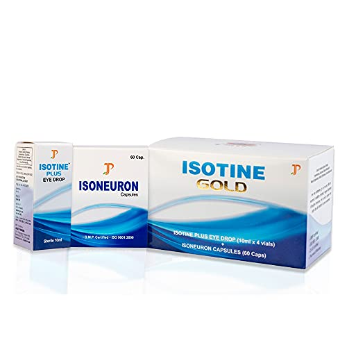 Isotine Gold Eye Drops for incurable eye problems - AYUSH Ministry Certified (pack of 4 eye drops & 1 box of capsule)