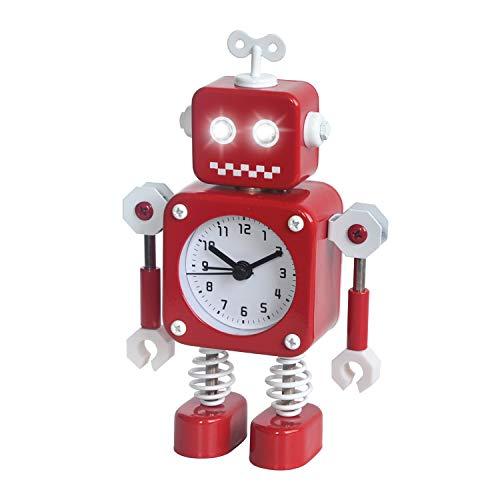 Diskary Roboter Wecker,Nicht tickende Wecker mit blinkenden Augen Lichtern und drehbarem Arm,Geschenk an Kinder (Rot)