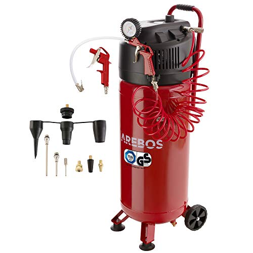 Arebos Druckluft Kompressor 50 L | 1500 W | Ölfrei | 10 bar | 97 dbA | inkl. 13-teiligem Zubehör-Set | stehend | Y-Anschluss
