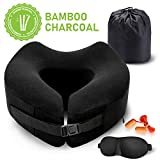 Familamb Travel Pillow Memory Foam Neck Pillow with Washable Cotton Cover-Ergonomic Design -Neck Head Chin Support Soft Pillow- Airplane Travel Kit with Bag,Eye Masks and Earplugs Black