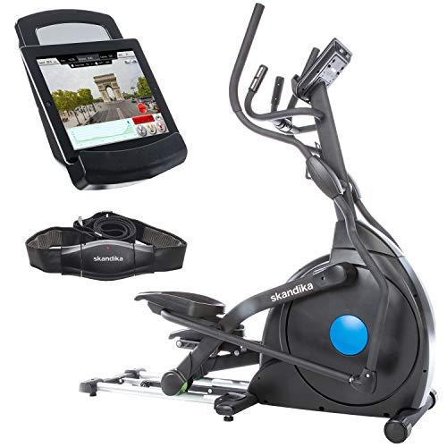 skandika Crosstrainer CardioCross Carbon Champ, 23,5 kg Schwungmasse, wartungsarmes Bremssytem über Magnettechnologie, Transportrollen, Bluetooth & Tablet-Halterung, Pulsmessung, 19 Programme