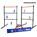 Rally and Roar Metal Ladder Toss Game Set with 2 Targets, 6 Rubber Bolas, Zippered Carrying Case - Premium, Portable Ladder Golf Kit for Families and Adults - Unique Outdoor Lawn Yard Games