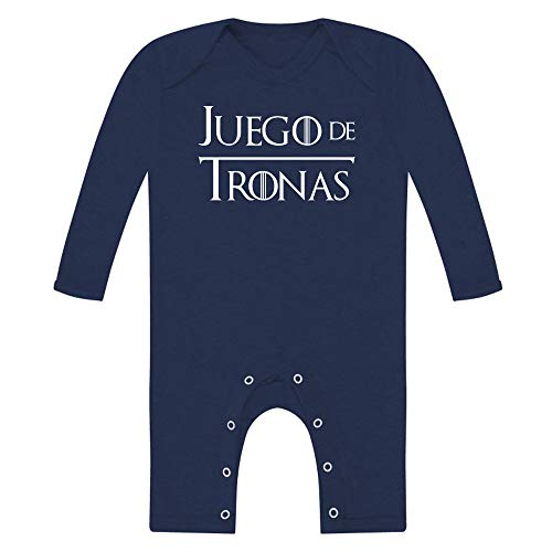 Body bebé unisex. Juego de tronas. Parodia Juego de tronos - Game of thrones. Regalo original. Body bebé divertido. Body friki. Manga y camal largo. (Azul navy, 6 meses)