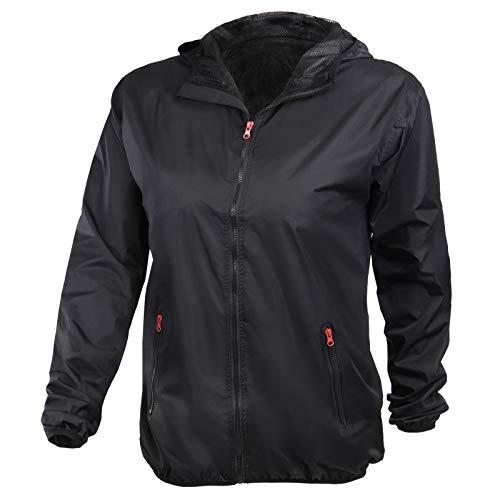 ALPIDEX Damen Regenjacke, atmungsaktiv, leicht, wasserdicht, Winddichte Übergangsjacke mit Kapuze - Größe S M L - Schwarz, Größe M