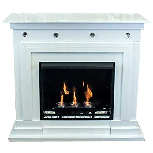 Kaminbau Mierzwa ( df-shopping ) Ethanol and Gel Fireplace Model Monaco Premium White with Swarovski Crystals