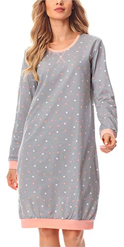 Merry Style Damen Nachthemd MS10-180 (Grau/Punkten, M)