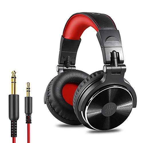 OneOdio Pro10 Casque Audio Studio Professionnel, Casque Filaire, Casque de Monitoring, Son Parfait pour Synthétiseur PC TV Tablette Smartphone (Rouge)