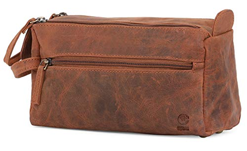 Genuine Leather Travel Toiletry Bag -...