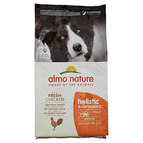 almo nature Holistic Maintenance Medium con Pollo Fresco - crocchette Premium per Cani Adulti con Carne Fresca - specifico per Cani di Taglia Medium - No OGM - Sacco 12kg
