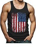 Big American Flag Tank Vintage 4th of July USA Flag Tank Top Men's Singlet X-Large Black