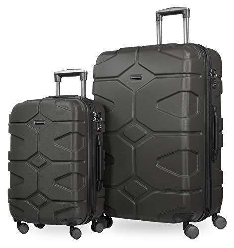 HAUPTSTADTKOFFER - X-Kölln - 2er Koffer-Set Trolley-Set Rollkoffer Reisekoffer, TSA, (S & L), Graphite matt