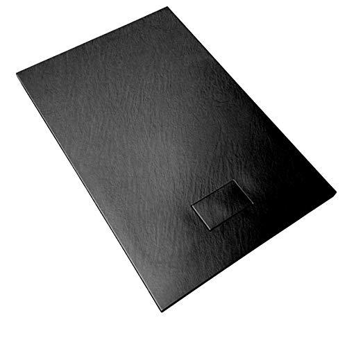 Duschwanne 80x120x2.6 Anthrazit Schwarz in Schieferoptik 2,6 cm Höhe aus thermogeformtem Acrylharz