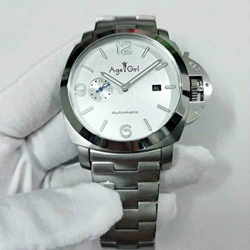 Llzka Herren Automatik Saphir Armband Edelstahl Uhr weißes Zifferblatt leuchtende Sportuhr 44mm