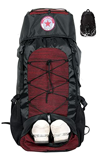 POLESTAR Flyer 55 ltrs Red Rucksack for Hiking Trekking Travel Backpack with Rain Cover and Shoe...