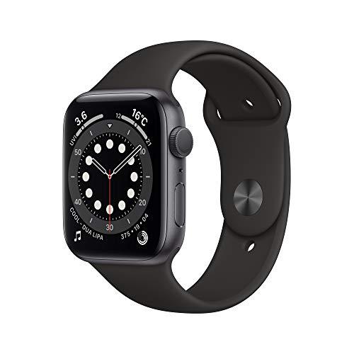 最新 Apple Watch Series 6(GPSモデル)- 44mmスペースグレイアルミニウムケースとブラックスポーツバンド