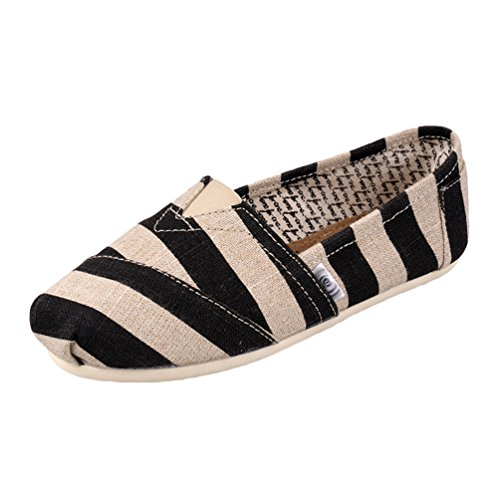 Dooxii Unisex Hombre Mujer Ocasionales Antideslizante Loafer Zapatos Moda Rayas Planos Alpargatas Negro 39(24.5cm)