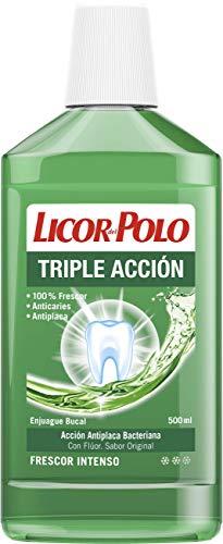 Licor del Polo - Enjuague Bucal Triple Acción - 3 uds de 500ml (1.500ml) - Anticaries, Antiplaca y 100% frescor – Boca fresca y limpia durante más tiempo