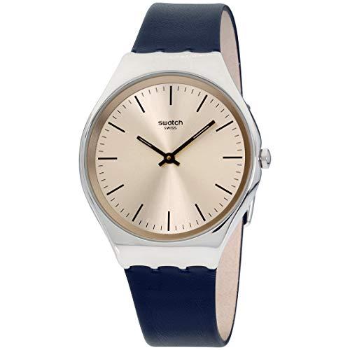 Swatch Unisex Erwachsene Analog Quarz Uhr mit Leder Armband SYXS115