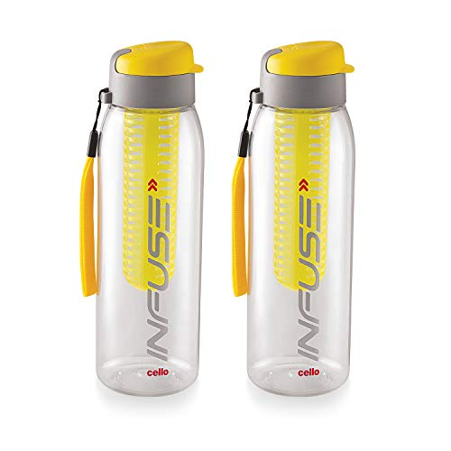 Cello Infuse Plastic(PET) Water Bottle with Infuser, 800ml, Set of 2, Yellow