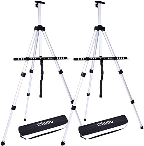Artist Easel, Ohuhu 2-pack Aluminum Field Easel Stand with Carrying Bag for Table-top/Floor, Art Easels with Adjustable Height from 21-Inch To 66-Inch, Back To School Art Supplies