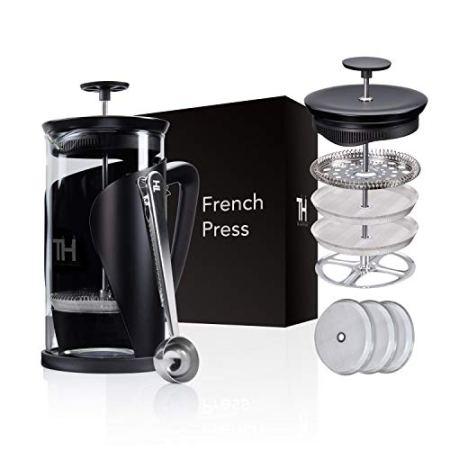 Thiru French Press Kaffeebereiter mit 4D Filtersystem Edelstahl & Glas
